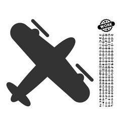Screw aeroplane icon with work bonus vector