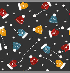 seamless pattern with mittens hats and vector image vector image