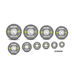 set different gray weight plates weights vector image