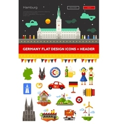 set flat design germany travel icons vector image