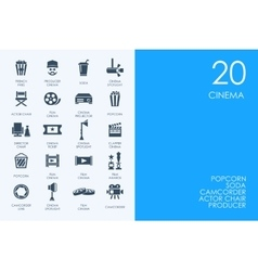 Set of blue hamster library cinema icons vector