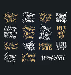 set of hand lettering with phrases about vector image