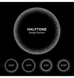 Set of White Abstract Halftone Circle Frame Logo vector image