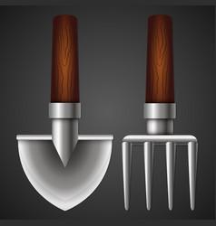 Shovel and pitchfork for the garden vector