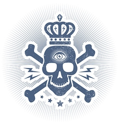 skull eye blue vector image