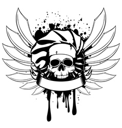 skull of cook with knifes vector image