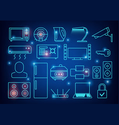 smart home automation background connected vector image