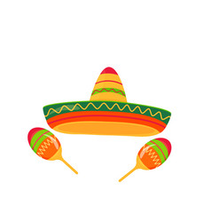 sombrero and maracas isolated on white background vector image