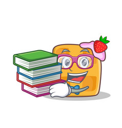 student waffle character cartoon design with book vector image