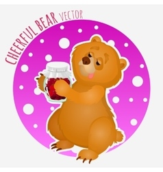 Sweet tooth bear with sweet jar of jam vector