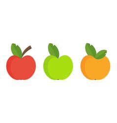 three color apple set flat cartoon vector image