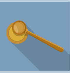 top view judge gavel icon flat style vector image