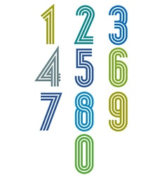 Triple stripes funky numbers set vector