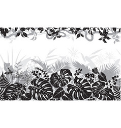 Tropical black and white pattern vector