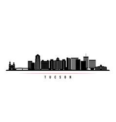 Tucson skyline horizontal banner black and white vector