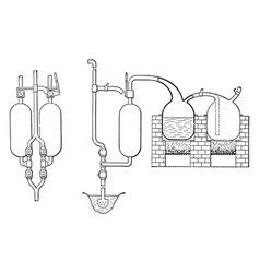 Two vessels from thomas savery first steam engine vector