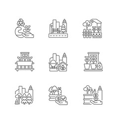 Urban agriculture linear icons set vector