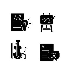 Variety of subjects in school black glyph icons vector