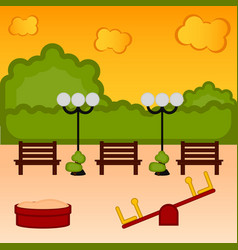 view of a playground with benches and lamps vector image