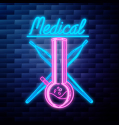 Vintage medical marijuana emblem vector