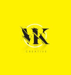 vk letter logo with vintage grundge drawing vector image