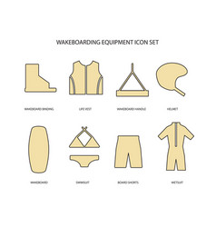 Wakeboarding equipment icons set vector