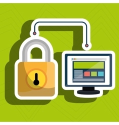 Web page padlock secure screen vector
