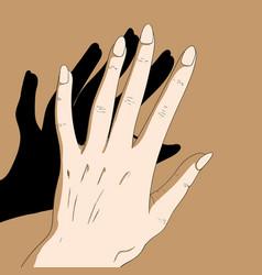 women hand and sunshine vector image
