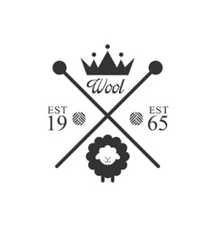 Wool Product Logo Design With Crown vector image