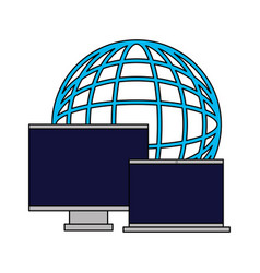 world computer monitor and laptop vector image