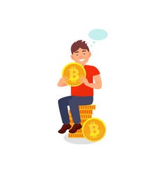 young smiling man sitting on a stack of bitcoins vector image