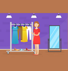 Young woman buying new dress female customer vector
