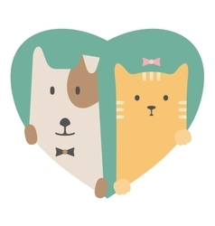 Animal set Portrait of a dog and cat in love over vector image
