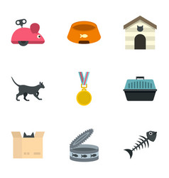 cat toys icons set cartoon style vector image