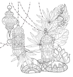 Festive hanging watercolor arabic lamps vector image vector image