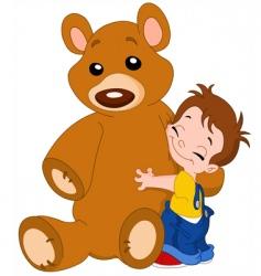 kid hug bear vector image
