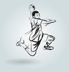 Line sketch of a handball player vector