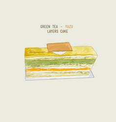 matcha green tea and yuzu orage layers cake vector image