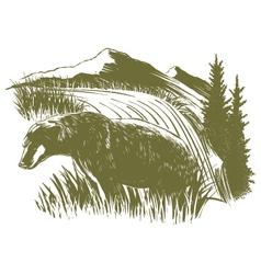 Woodcut Bear Scene vector image vector image