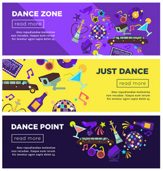 dance zone promotional bright internet posters vector image vector image