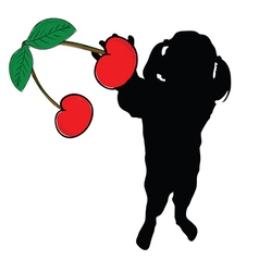 girl with cherry in hand silhouette vector image