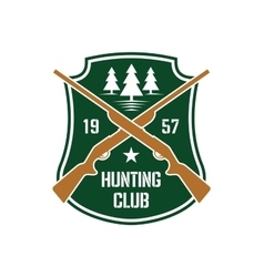 Hunting insignia with crossed rifles on a shield vector image