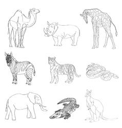 Image rhino kangaroo giraffe vector image vector image