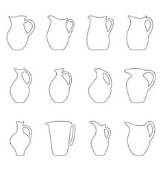 set of jugs vector image vector image