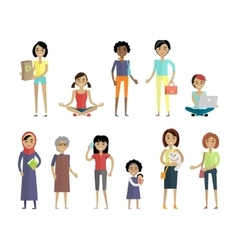 Set of Women of Different Ages and Races Isolated vector image vector image