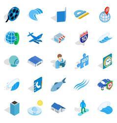adventure films icons set isometric style vector image