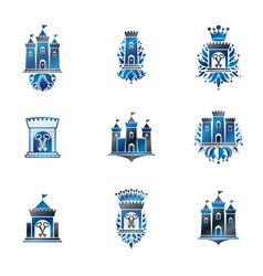 Ancient fortresses emblems set heraldic coat of vector