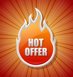 Glossy hot offer icon vector image vector image