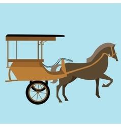 horse carriage cart asia delman old vector image