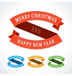 Merry Christmas message ribbons decoration set vector image vector image